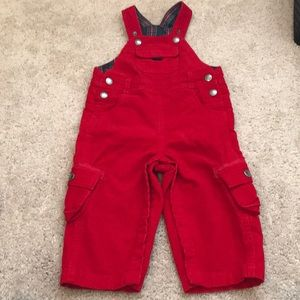 Euc red corduroy overalls. Jojo Maman Bebe